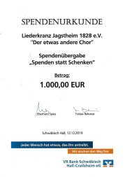 Spende VR Bank SHA 2019 12 12
